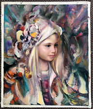 """Astrid"" (Beautiful Girl) Original Oil on Canvas, signed by: Dinval 24"" x 20"""