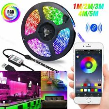 USB Strip Lights 5050 RGB LED Room TV Backlight Bluetooth APP Remote Music Sync
