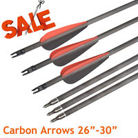 """26""""-30"""" Archery Carbon Arrows SP340 Shaft 6.2mm Target Hunting Shooting Practise"""