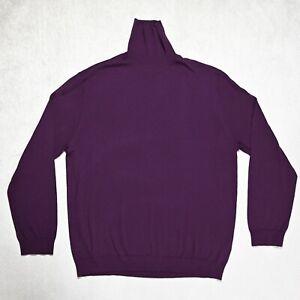 Mens M&S Merino Extra Fine Wool Jumper Size 2XL High Roll neck Pullover Purple