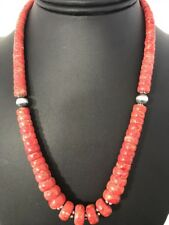 Navajo Native American Graduated Apple Coral Bead Sterling Silver Necklace Gift