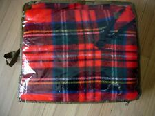 Vintagge Wool Plaid Poncho Zipper Neck Bright Red Green Tartan Fringe Pendleton?