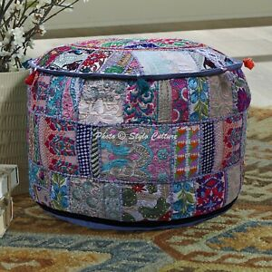 Bohemian Foot Stool 22 Inch Pouf Cover Grey Cotton Patchwork Embroidered Round