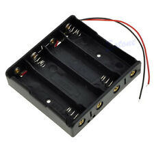 """Battery Storage Case Plastic 4 x 18650 Box Holder Black With 6"""" Wire Leads"""