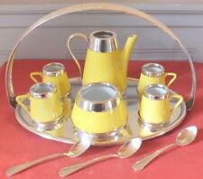 service café thé porcelaine jaune filet argent support métal argenté