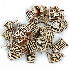 50pcs DIY Hollow Out Birdcage Wood Tage Craft Decor for Party Hanging Ornaments