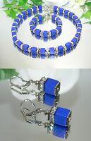 3er SCHMUCKSET Kette Armband Ohrringe Würfel Lapislazuli blau strass silber 304m