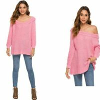 Women's Casual Knitted Sweater Fashion T-shirt Long Sleeve Loose Solid Blouse