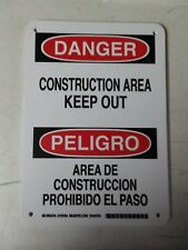 DANGER CONSTRUCTION AREA KEEP OUT SAFETY TRAFFIC BUSINESS SIGN 10 X 7