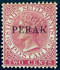 MALAYA 1884 Perak opt Straits Settlements QV 2c Narrow E MLH SG#18d M2997
