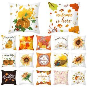 "18"" Thanksgiving Pumpkin Sunflower Cushion Cover Pillow Case Sofa Home Art Decor"