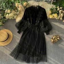 Women Lace Hollow Out Floral Dress Vintage Mesh Velvet Fairy Gothic Lolita SPW