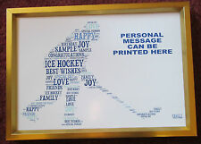 ICE HOCKEY PLAYER - PERSONALISED WORDART PRINT - BIRTHDAY GIFT - MUM, DAD, SON