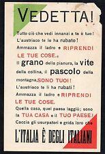 """WW1 Franchigia, Propaganda - """"Vedetta!"""" - Non Viaggiata - FR118"""