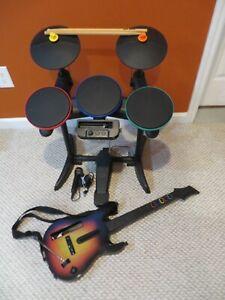 Nintendo Wii Band/Guitar Hero Wireless Drum Set Kit & Guitar