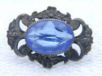 Antique Victorian Art Nouveau Blue Glass Floral Pin Brooch