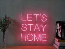 New Let's Stay Home Neon Sign For Bedroom Wall Home Decor Artwork Light Dimmer