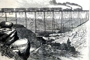 Excursion Train 1877 DALE CREEK IRON VIADUCT SHERMAN U.P.R.R. Engraving Print