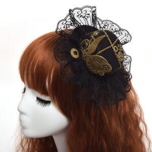 Gothic Steampunk Wing Clock Mini Lace Trim Top Hat Hair Clip Victorian Headwear