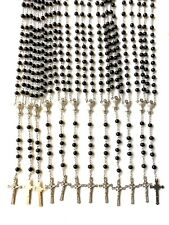 12 PCS black Glass prayer beads rosary  -  Rosary Crucifix Necklace  Lot of 12