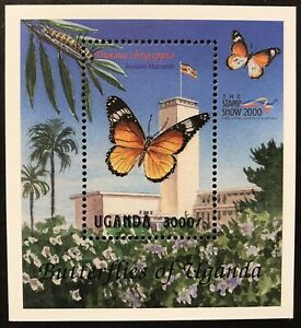 UGANDA BUTTERFLY STAMPS S/S 2000 MNH AFRICAN MONARCH BUTTERFLIES INSECT WILDLIFE