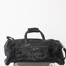 Black Leather Vintage Small Weekend Bag