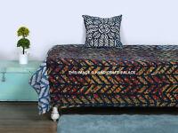 Vintage Handmade Indigo Kantha Quilt 100%Cotton Indian Bedspread Throw Blanket