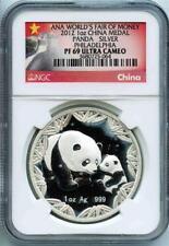 2012 1oz China Silver Panda ANA World's Fair of Money NGC PF69 UC Milky Areas 64