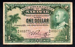 Sarawak P-20 1 January 1935 $1 A/4 032,771 KGV Era Extremely Rare.