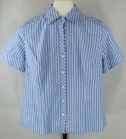 Ann Taylor Loft Womens Ladies Blue White Striped Short Sleeve Blouse Top Sz 8