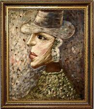 Ölbild Frau mit Hut handgemalt Portrait GEMÄLDE ÖLGEMÄLDE oilpainting