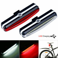 USB Rechargeable White LED Mountain Bike Bicycle Front +Rear Lights Set