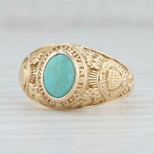 Vintage Howard University Class Ring 10k Yellow Gold Size 8.5 Turquoise