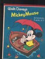 Walt Disney's Mickey Mouse School Tablet 1950s Fishing in Row Boat w Umbrella