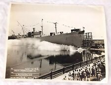 Oscar S Straus Ship Launching Photo Delta Shipbuilding Photograph 1943 Liberty
