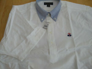 NWT Brooks Brothers White Button Down Collar Popover USA XL Trad Ivy MSRP $140
