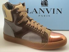 New $885 Lanvin men's  Cap-Toe High Top Sneakers Size 10 UK 11 US