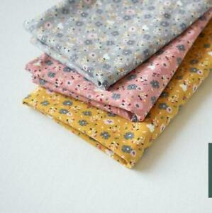 100% Cotton Flannel Fabric Floral fabric in Pink Grey Mustard Autumn fabric