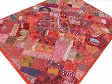 Handgefertigte Patchworkdecke Rot Quilt Wandbehang Bettüberwurf Indien R