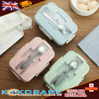 Kids Adults 3 Compartments Lunch Box Food Container Set Bento Storage Oven Boxes