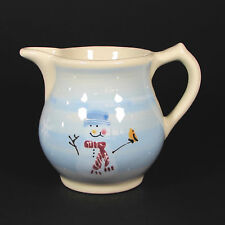 Hartstone Pottery SNOW PEOPLE 1Qt Pitcher Hand Painted Stoneware Snowman Blue