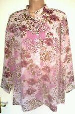 Floral Mandarin Collar Hip Length Tops & Shirts Plus Size for Women