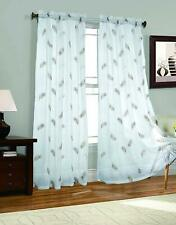 "2 Piece Feather Embroider Sheer Voile Window Curtain Panel Drapes 54"" W x 95"" L"