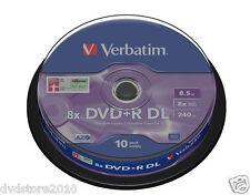 10 DVD+R VERBATIM 8X DL DUAL LAYER 8,5 GB Double XboX 360 VUOTI AZO 43666