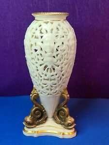 Antique 19th Grainger Worcester Reticulated Pierced Vase Faces on Dolphin feet