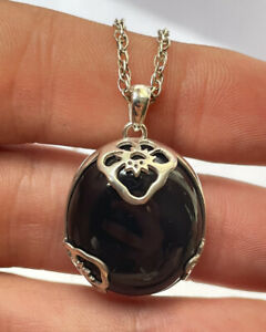 Vintage silver and black stone(onyx?) pendant with 20 inches silver chain