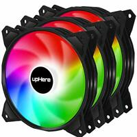 upHere Long Life 120mm 3-Pin High Airflow Quiet Edition Rainbow LED Case Fan ...
