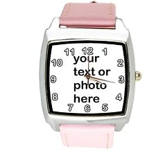 YOUR CUSTOM TEXT PHOTO WATCH Quartz Stainless Steel PINK LEATHER SQUARE WATCH