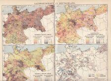 1899 Landwirtschaft in Deutschland Original Alte Landkarte Karte Antique Print