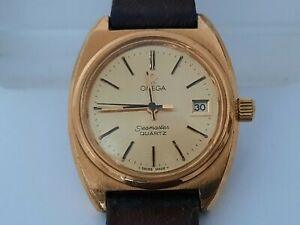 Omega Seamaster Quartz Cal 1360 - For Women Ladies - Push Crown-Gold Plated Case